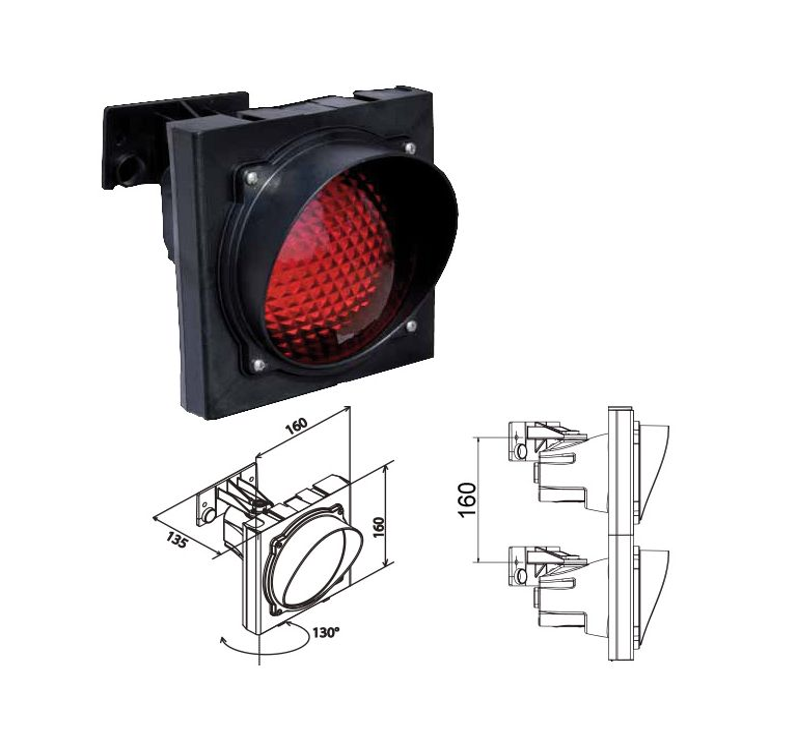 Verkeerslicht Apollo Plast met rode lens 120mm voor E27 lamp