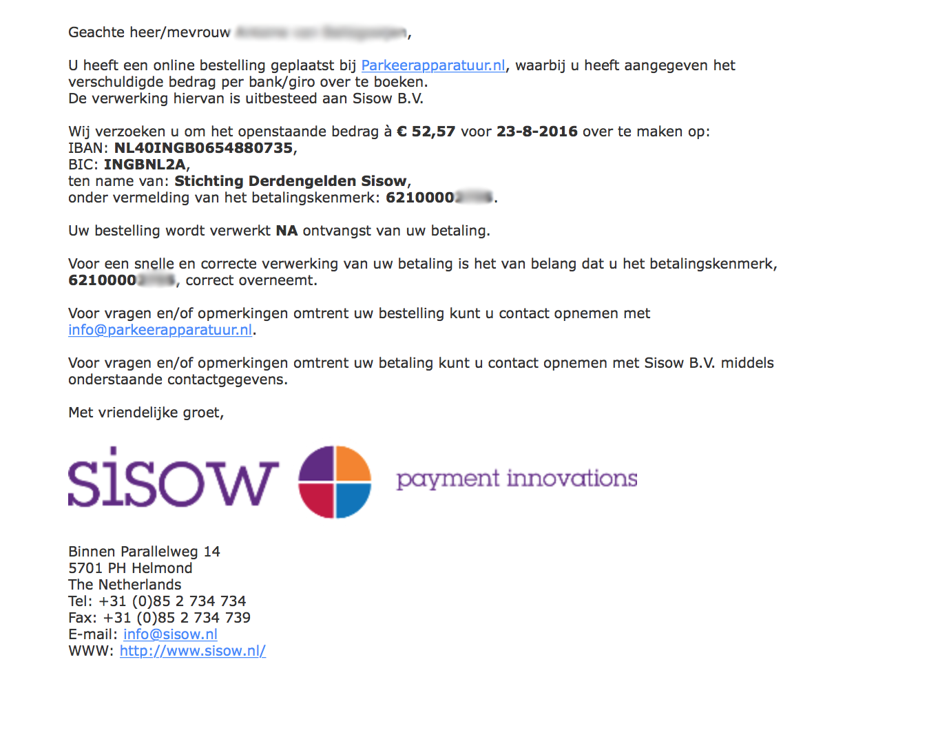 e-mail Sisow